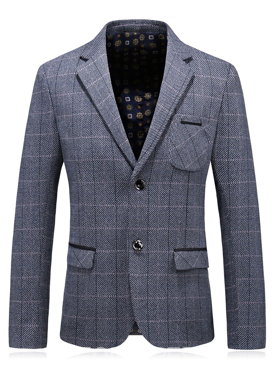 Ericdress Mens Plaid Lapel Pocket Slim Fit Blazer Jacket