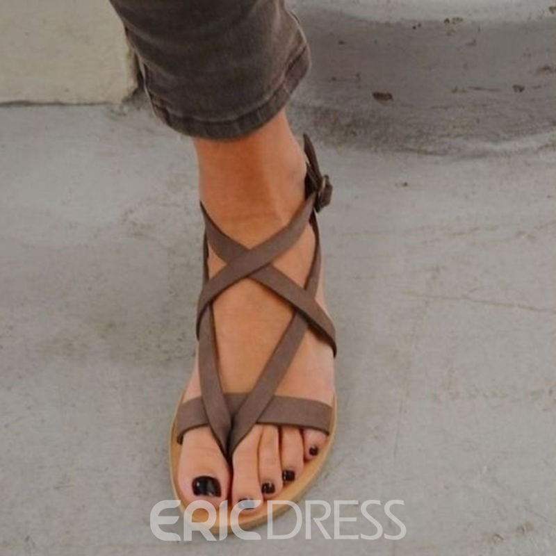 Ericdress Summer Block Heel Open Toe Strappy Flat Sandals