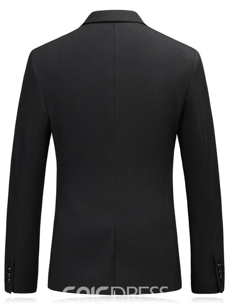 Ericdress Plain Mens Notched Lapel 2 Button Blazer Jacket