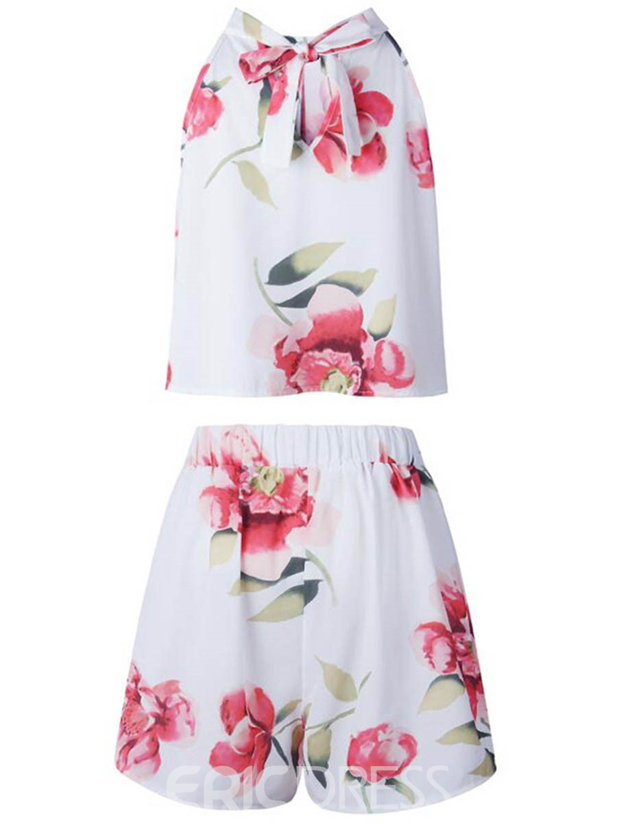 Ericdress Floral Vest and Shorts Women's Two Piece Set