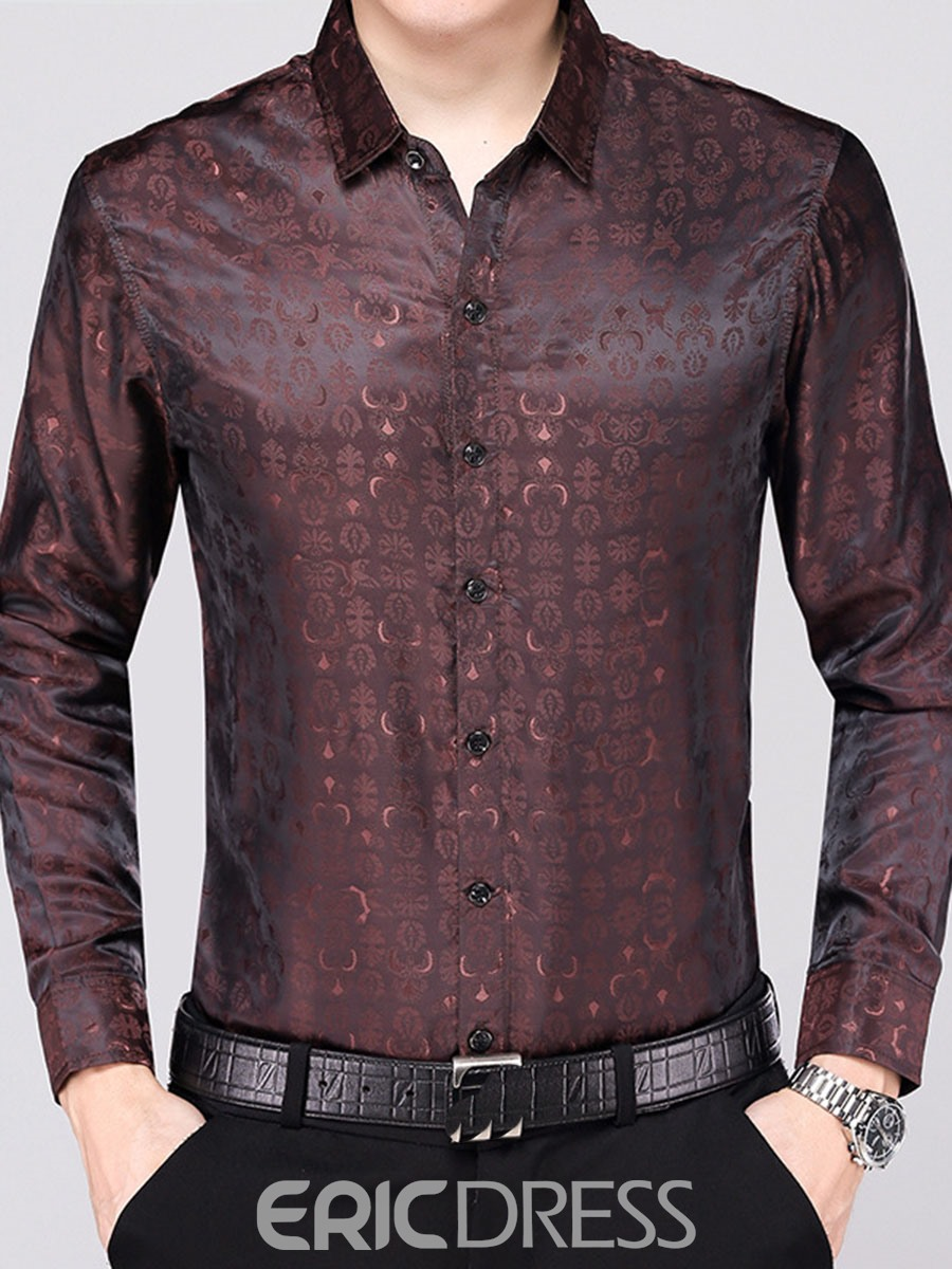 Ericdress Lapel Long Sleeve Fit Men's Shirt