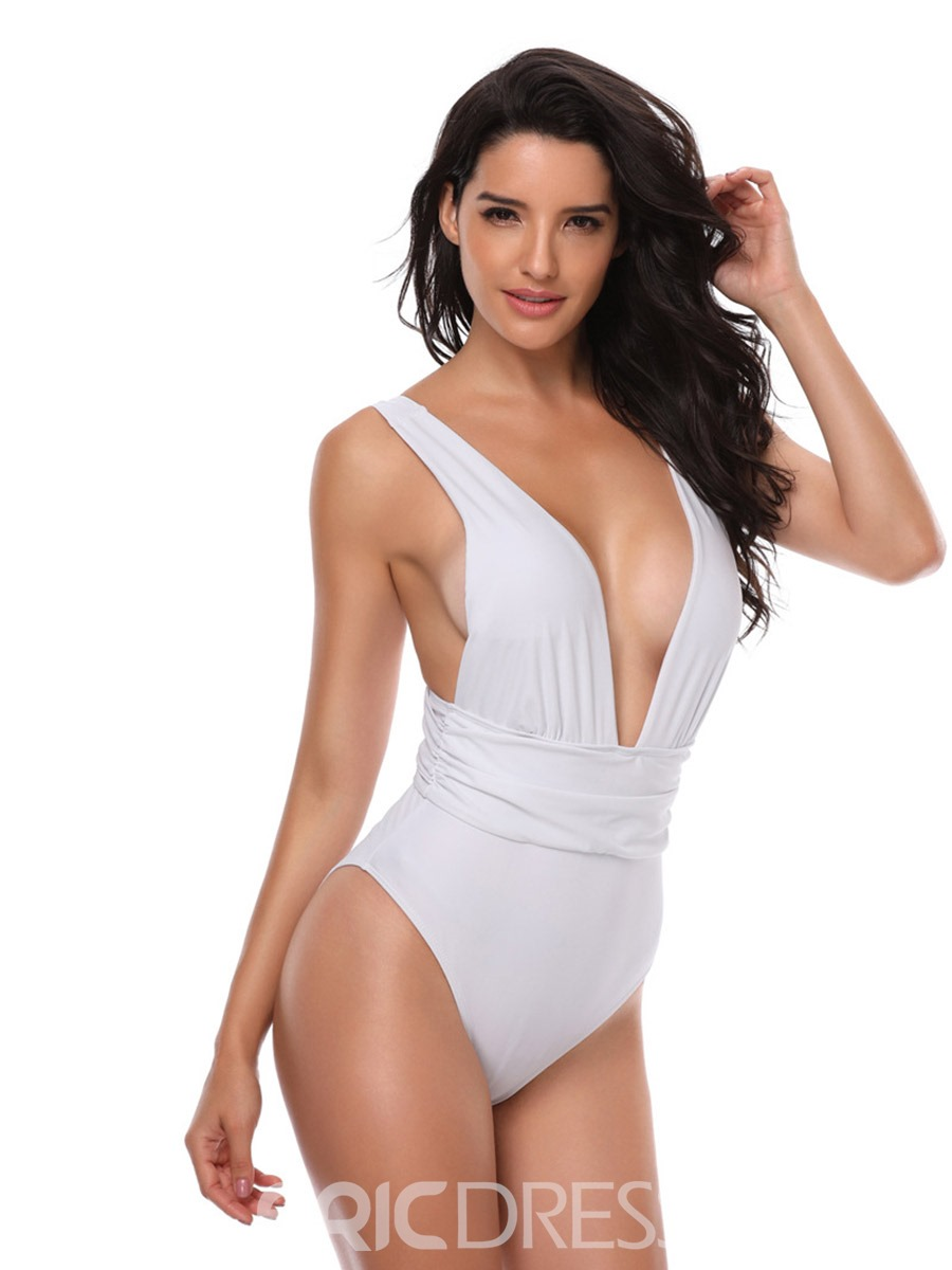 Ericdress Halter Deep V Neck Plain One Piece Swimwear Monokini