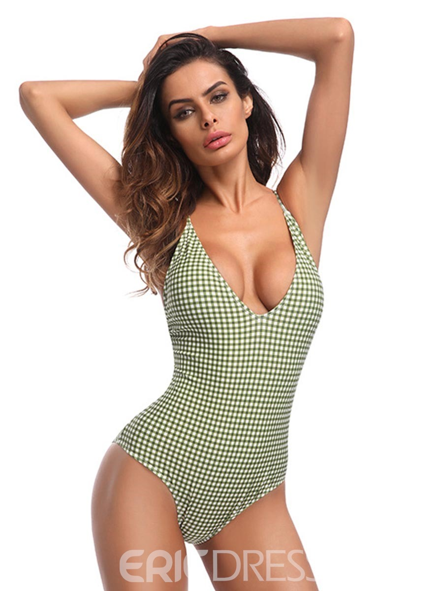 Ericdress Plaid Halter One Piece Swimwear Monokini