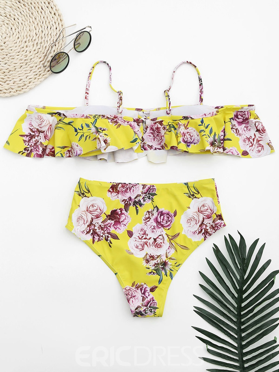 Ericdress Floral Ruffles Falbala High Waist Bikini Suits