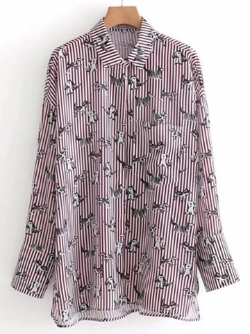 Ericdress Stripe Single-Breasted Pocket Print Long Sleeve Blouse