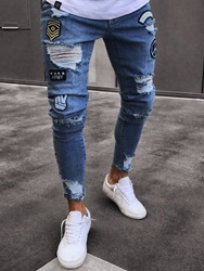 Mens Clothing Blue Ripped Worn Skinny Jeans фото