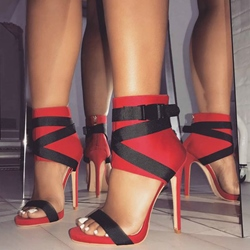 Ericdress Red Buckle Zipper Stiletto Heel Sandals thumbnail