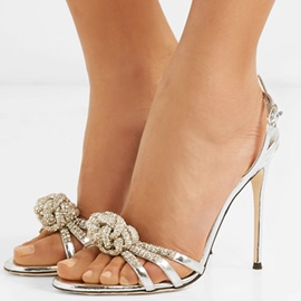 Ericdress Silver Rhinestone Open Toe Stiletto Sandals