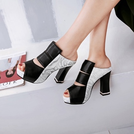 Ericdress PU Flip Flop Patchwork Chunky Heel Mules Shoes