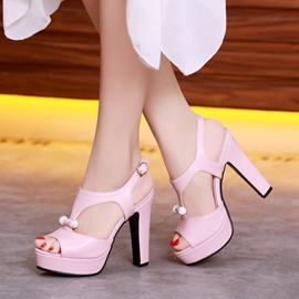 Ericdress Summer Rhinestone Peep Toe Plain Chunky Sandals