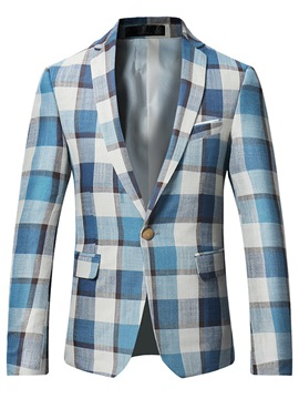 Ericdress Plaid Color Block Mens Long Sleeve Slim Jacket Blazer