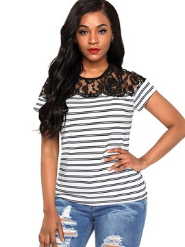 Ericdress Slim Stripe Lace Patchwork Short Sleeve Tee Shirt