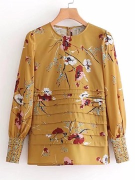 Ericdress Floral Print Scoop Pullover Lantern Sleeve Blouse