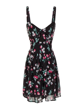 Ericdress Print V-Neck Sleeveless Summer Regular Dress