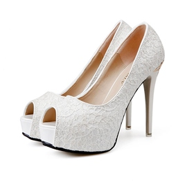 Ericdress Lace Peep Toe Platform Stiletto Heel Pumps