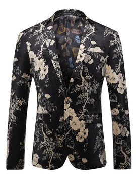 Ericdress Floral Print Mens Long Sleeve Slim Fit Jacket Blazer