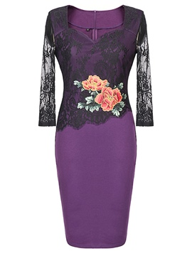Ericdress 3/4 Length Sleeves Pencil Embroidery Floral Women's Bodycon Dress