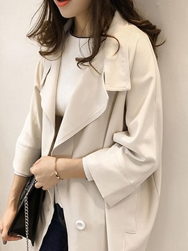 Ericdress Plain Lapel Mid-Length Regular Trench Coat
