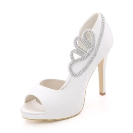 Ericdress Peep Toe Stiletto Heel Slip-On Wedding Shoes