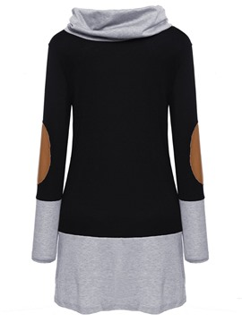 Ericdress High Neck Patchwork Mid-Length Sweatshirt