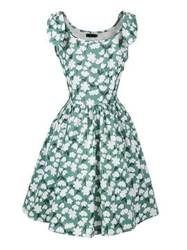 Ericdress Print Sleeveless Mid-Calf Regular Mid Waist Dress