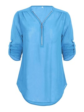 Ericdress V-Neck Zip Up Loose Short Sleeve Blouse