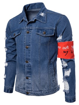 Ericdress Stripe Plain Slim Lapel Mens Casual Denim Jacket