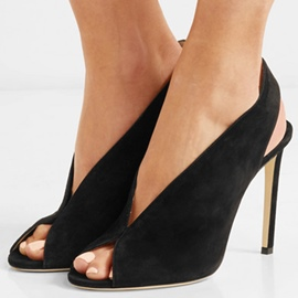 Ericdress Black Peep Toe Slip-On Stiletto Sandals