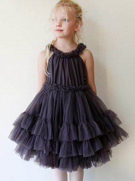 Ericdress Stringy Selvedge Mesh Sleeveless Girl's Layered Dress