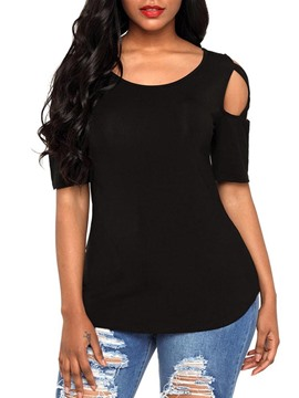 Ericdress Slim Hole Scoop Short Sleeve Tee Shirt