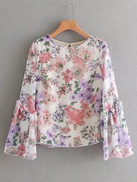 Ericdress Flare Sleeve Floral Print Scoop Blouse