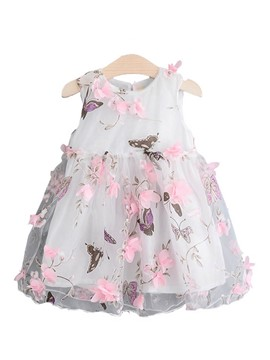 Ericdress Paint Splatters Mesh Print Girl's Sleeveless Princess Dress