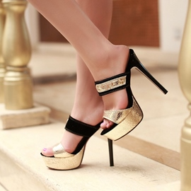 Ericdress Summer Slip-On Color Block Stiletto Heel Mules Shoes