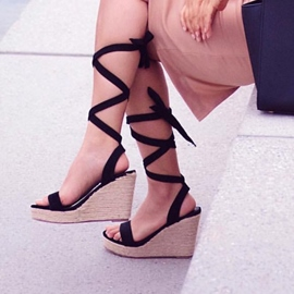 Plain Platform Open Toe Wedge Sandals