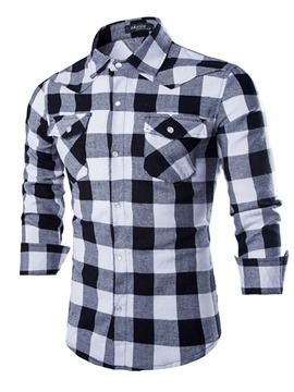 Ericdress Plaid Color Block Mens Casual Shirt