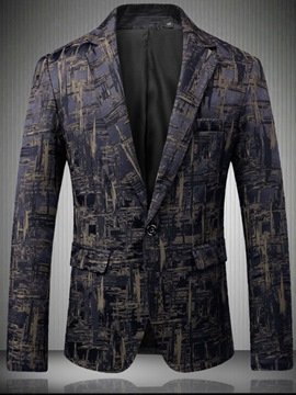Ericdress Print Color Block Mens Slim Fit Jacket Blazer