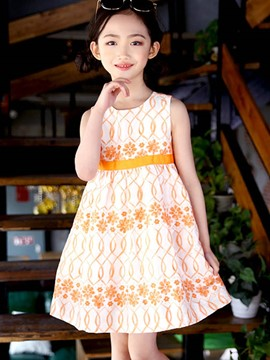 Ericdress Floral Bowknot High-Waist Girl's Cotton Dress