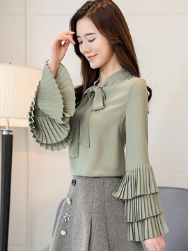 Ericdress Loose Ruffle Sleeve Chiffon Plain Long Sleeve Blouse