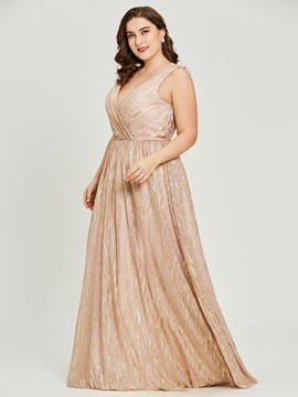 Ericdress Plus Size V Neck A Line Gilding Evening Dress