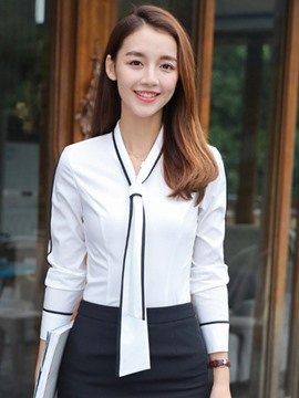 Ericdress Slim Single-Breasted Color Block Long Sleeve Blouse