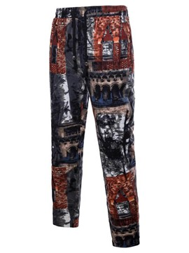 Ericdress Print Color Block Mens Straight Casual Pants