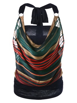 Ericdress Loose Stripe Backless Patchwork Vest