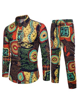 Ericdress Floral Print Color Block Mens Suit Shirt Pants