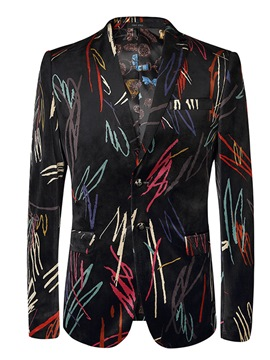 Ericdress Stripe Print Mens Long Sleeve Slim Jacket Blazer