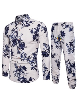 Ericdress Floral Print Color Block Shirt Pants Mens Casual Suit
