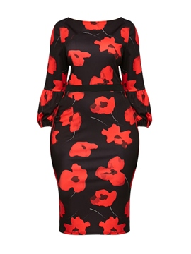 Ericdress Floral Print Scoop Nine Points Sleeves Bodycon Dress