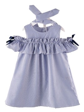 Ericdress A-Line Stripe Ruffle Sleeve Girl's Cotton Casual Dress