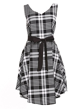 Ericdress Sleeveless Plaid V-Neck Women's Casual Dress