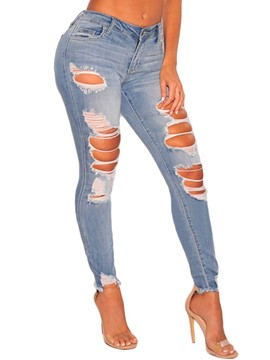 Ericdress Skinny Washable Women's Ripped Jeans