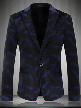 Ericdress Print Color Block Mens Jacket Blazer